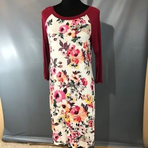 Stretchy Floral Baseball Tee Dress 3/4 Sleeves L